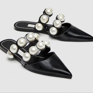 Black Zara flat mules with pearls